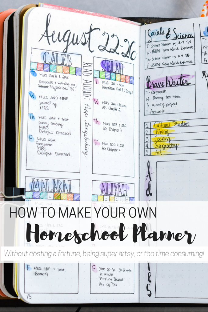 #8 on Top 10 Homeschool Posts in 2016: How to make your own homeschool planner to organize your homeschool! homeschool organization | homeschool planner | homeschool planning | DIY homeschool planner | cheap homeschool planner | simple homeschool planner | planning your homeschool | how to plan your homeschool year | homeschool planning tips | homeschool bullet journal | bullet journaling | free printable planner | free printable homeschool planner | homeschool printables |