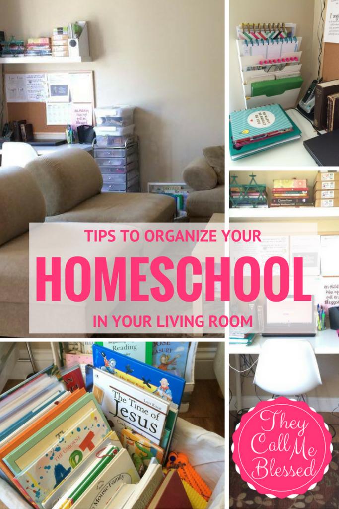 #4 Top Homeschool Posts in 2016: ORGANIZE YOUR HOMESCHOOL space in your living room