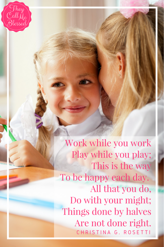 Teaching kids attentiveness: Work while you work poem