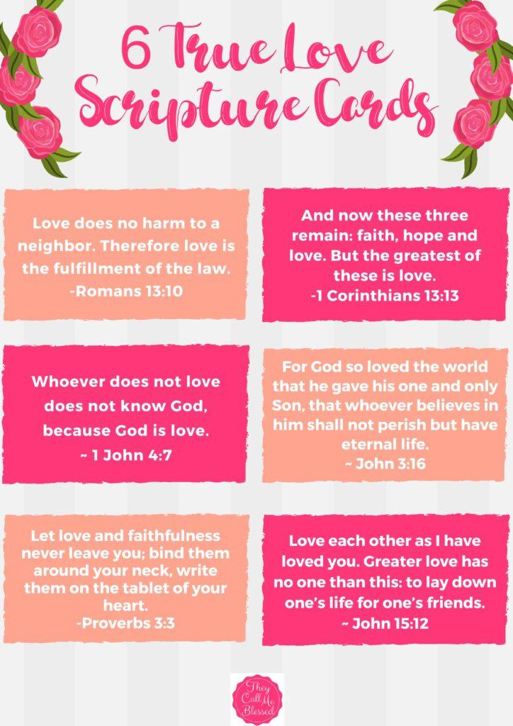 Teach Kids About True Love: Free 6 True Love Scripture Cards Printable