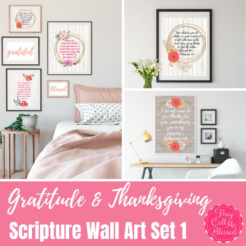 Gratitude & Thanksgiving Scriptures Wall Art Set {Digital}