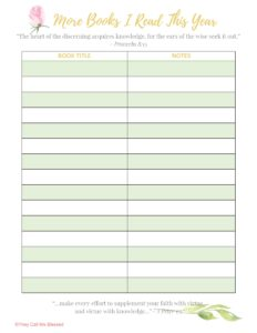 Beyond Blessed Life Planner Books & Books Reading Tracker